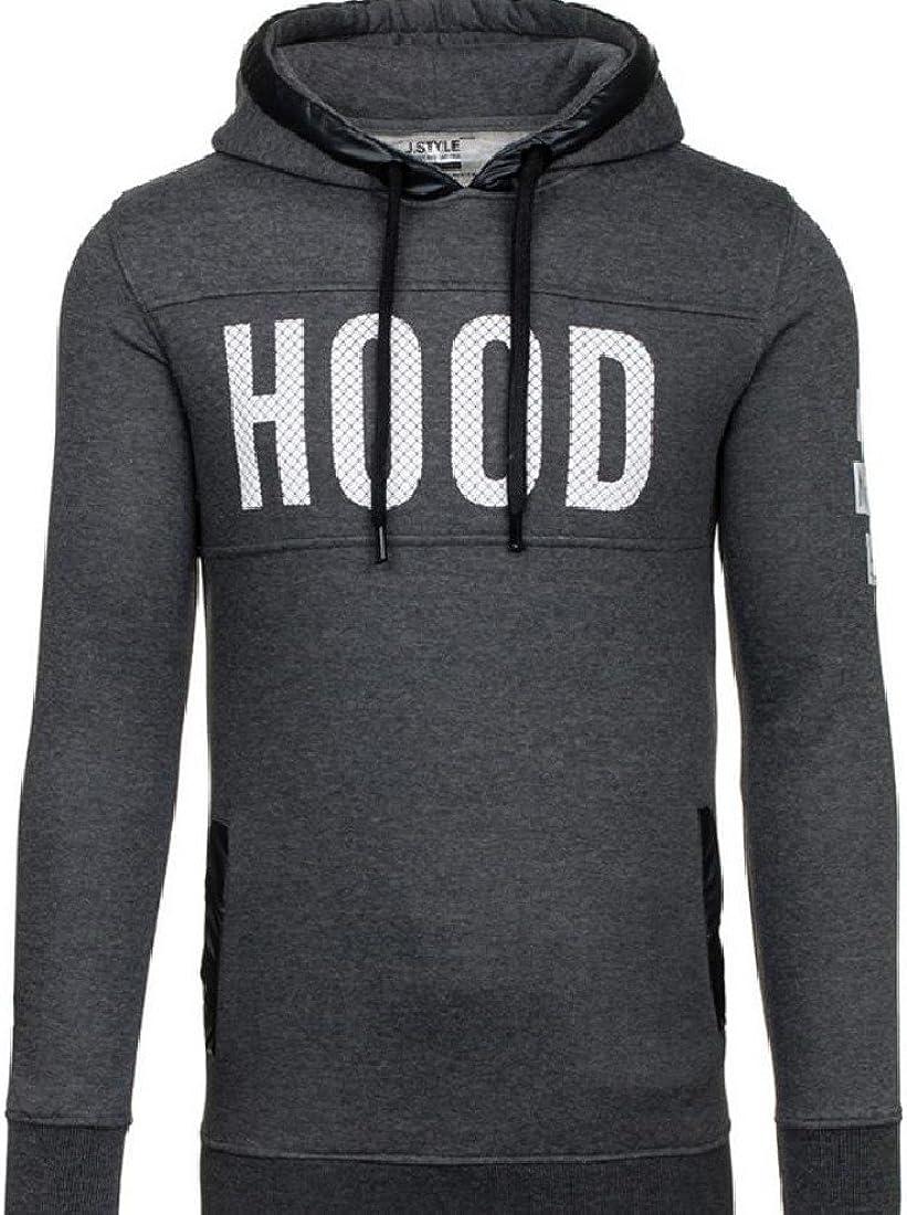 GodeyesMen Pure Color Print Hood Velvet Letter Loose Sweatshirt Pullover