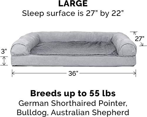 Furhaven-Pet-Packable-Travel-Bed,-Plush-Orthopedic-Sofa,-L-Shaped-Chaise-Couch,-&-Mid-Century-Modern-Dog-Bed-Frame-for-Dogs