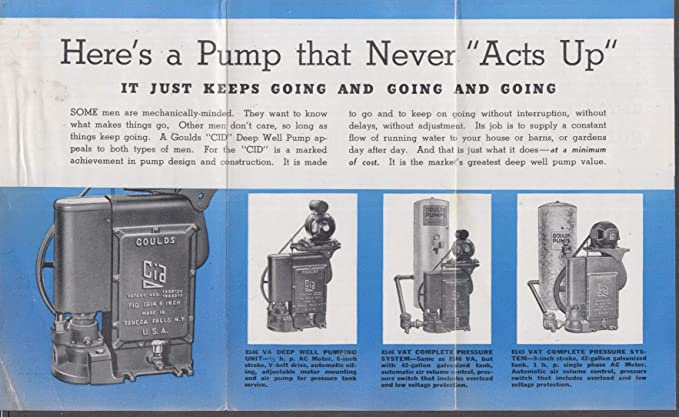 Gould CID Deep Well Pumps sales folder 1938 at Amazon's
