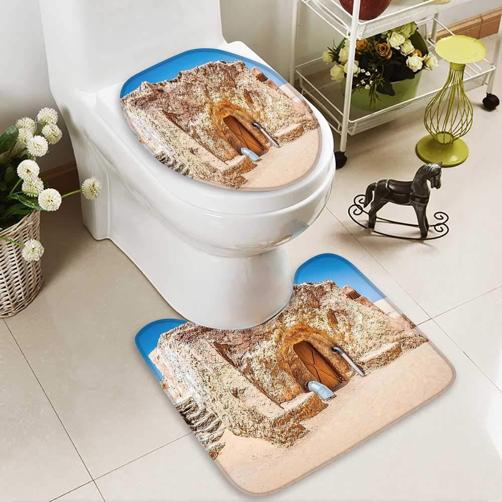 SOCOMIMI 2 Piece Toilet Cover Set Abandoned Sets The Movie in Tunisia Desert Phantom Galaxy Wars Themed 3D Digital Printing Rug Set