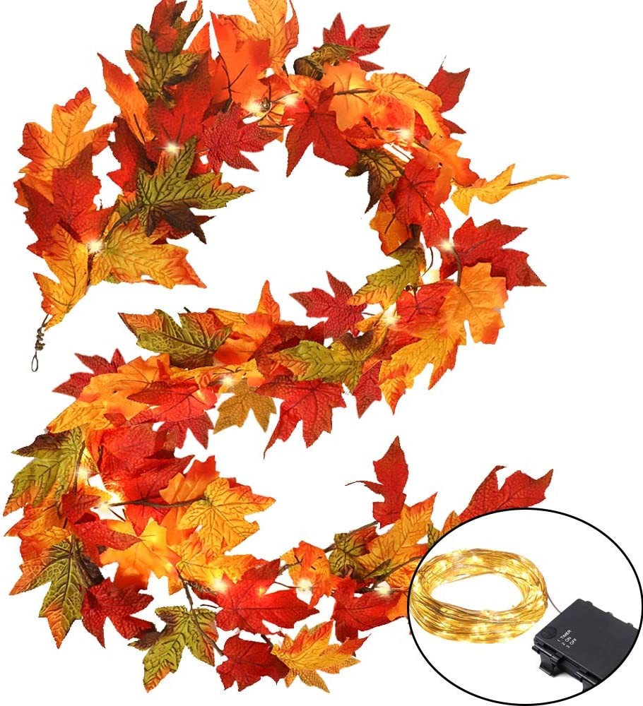 CEWOR Fall Maple Leaves Garland with 35 LED Lights Thanksgiving Decoration Handmade Artificial Autumn Foliage Hanging Vine for Home Holiday Party Thanksgiving Decor