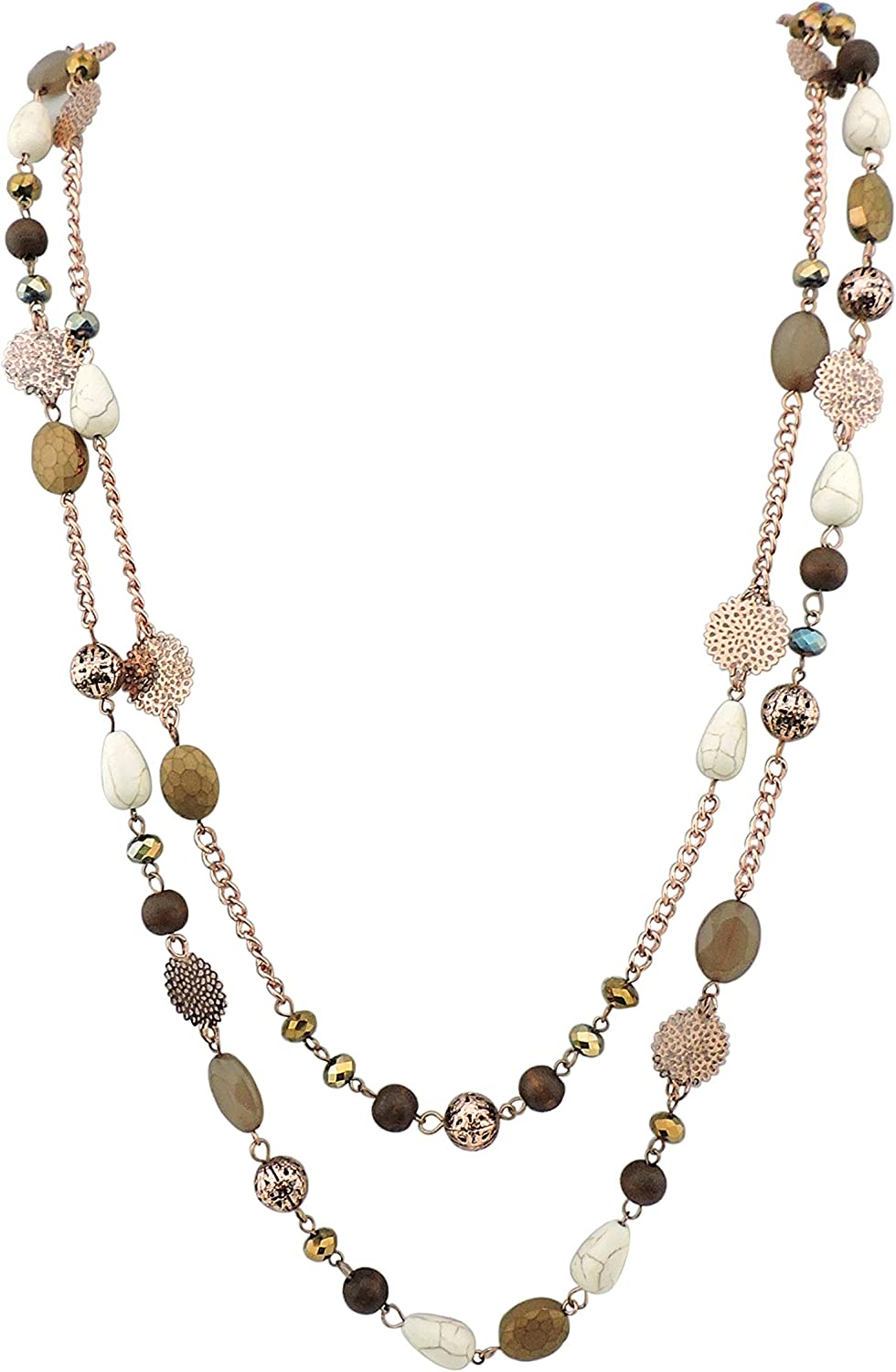 BOCAR 14K Gold Plated Link Chain 2 Layer Crystal Wood Acrylic Colorful Women Party Long Necklace Gift