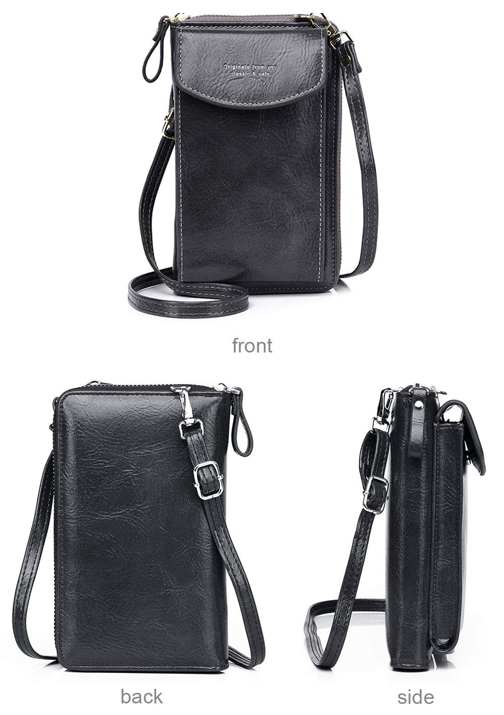 MAGIMODAC dam mobil axelväska liten mobilväska att hänga retro PU läder plånbok plånbok crossover med mobilfack kortfack dragkedja 1-grå