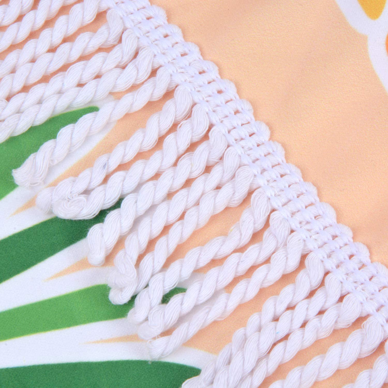 VIVOTE Toalla de Playa Redonda de Microfibra de Gran tama/ño con borlas 62 Pulgadas Toalla compacta Multiusos Secado r/ápido Absorbente Flamenco