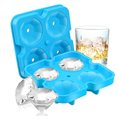 Ice Cube Trays, SAWNZC Diamond-Shaped Fun Ice Cube Molds BPA Silicone Flexible Ice Maker for Chilling Whiskey Cocktails, Set of 2