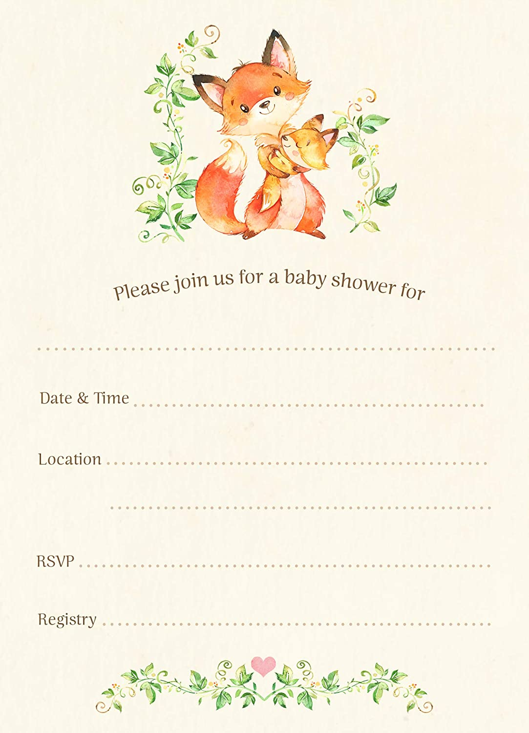 Fox Baby Shower Invitations, Fill in The Blank Invites, Baby Shower Invitations, Mommy and Me, Woodland Baby Shower, Forest Friends, Fox, Orange, Foxes, 24 Pack of Invites with Envelopes