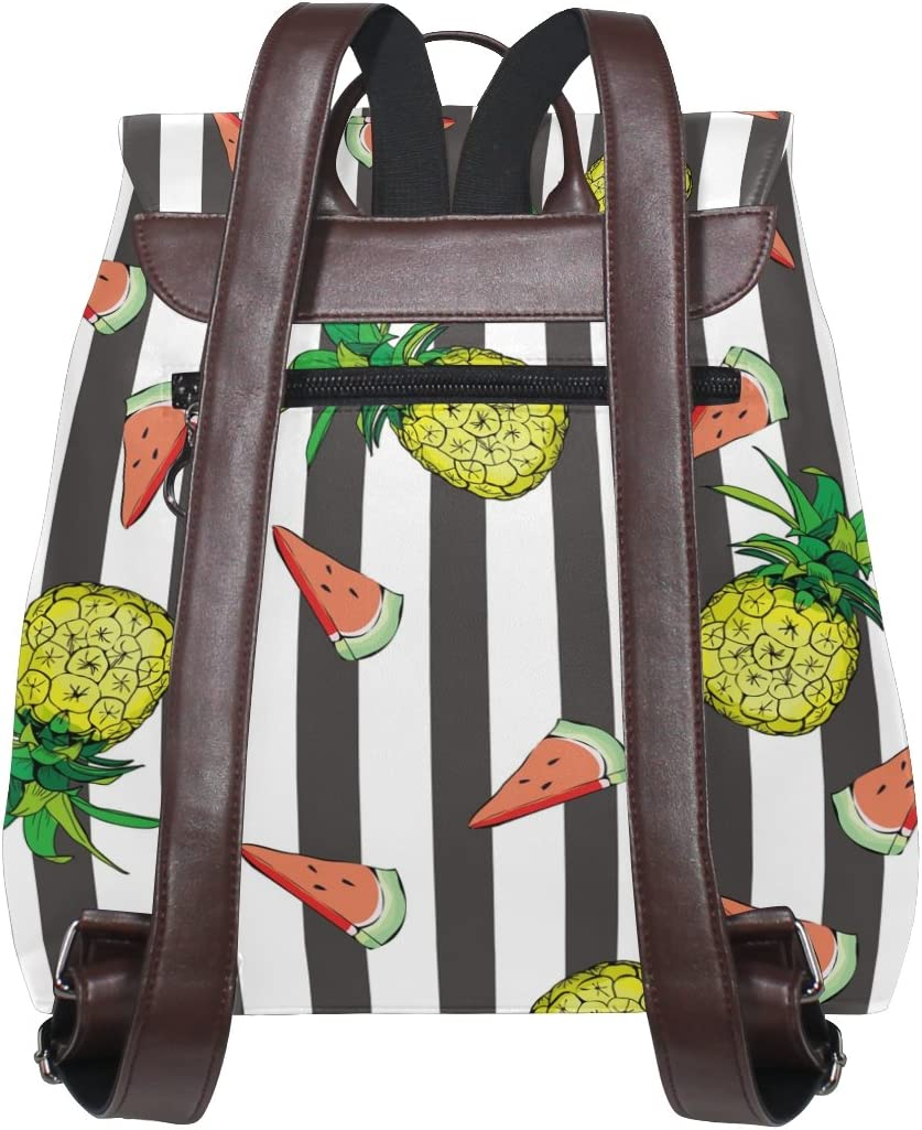 KUWT Tropic Fruit Pineapple and Watermelon PU Leather Backpack Travel Shoulder Bag School College Book Bag Casual Daypacks Diaper Bag for Women and Girl