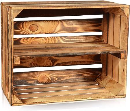 Cajas de madera vintage con estante de Chiccie, flameada, caja de fruta, de vino, aspecto natural: Amazon.es: Hogar