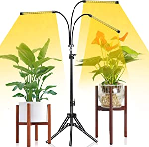 Grow Light with Stand,Tri-Head 60W Floor Plant Lights for Indoor Plants Full Spectrum,Tripod Stand Adjustable 15-47 in,3/9/12H Timer & 3 Modes For Indoor Succulent Plants Growth