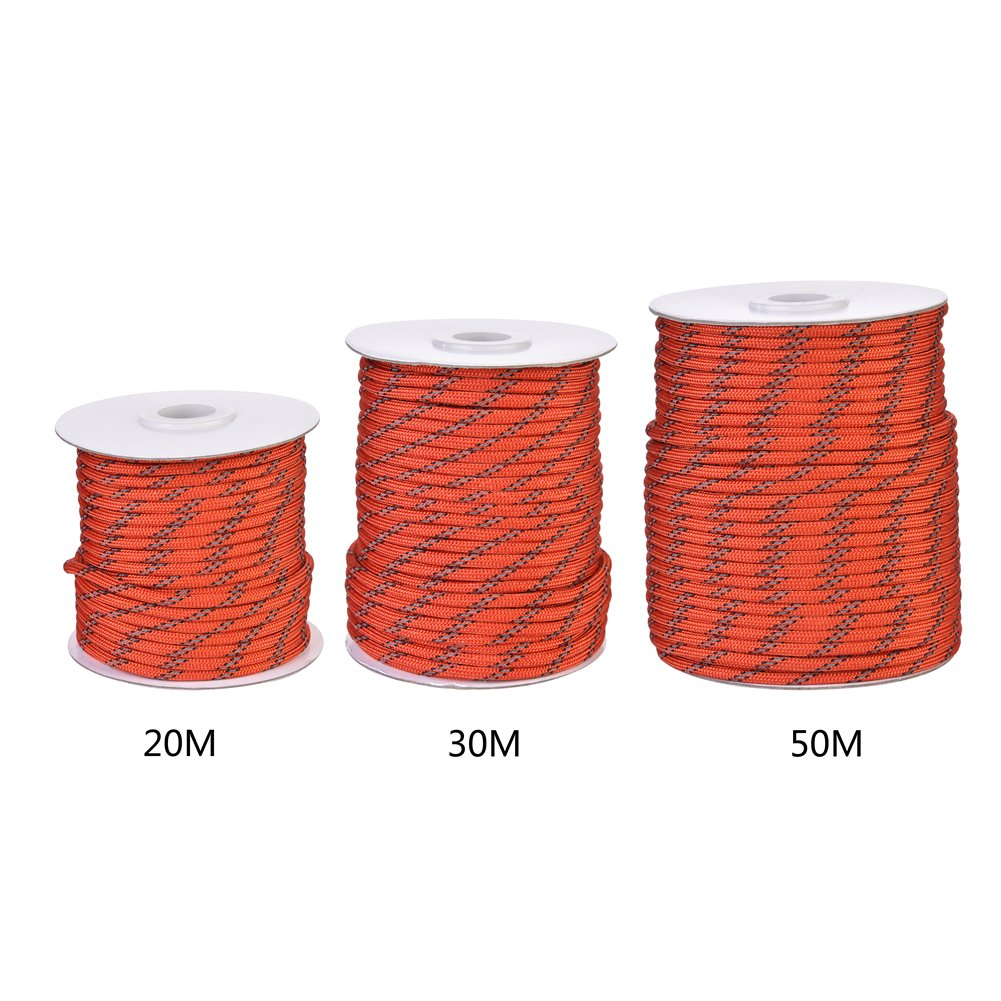 Suitable for Camping Awning Tent Dinghy 5mm Dyneema 20//30//50m Red Serda Reflective Tent Cord Sailing