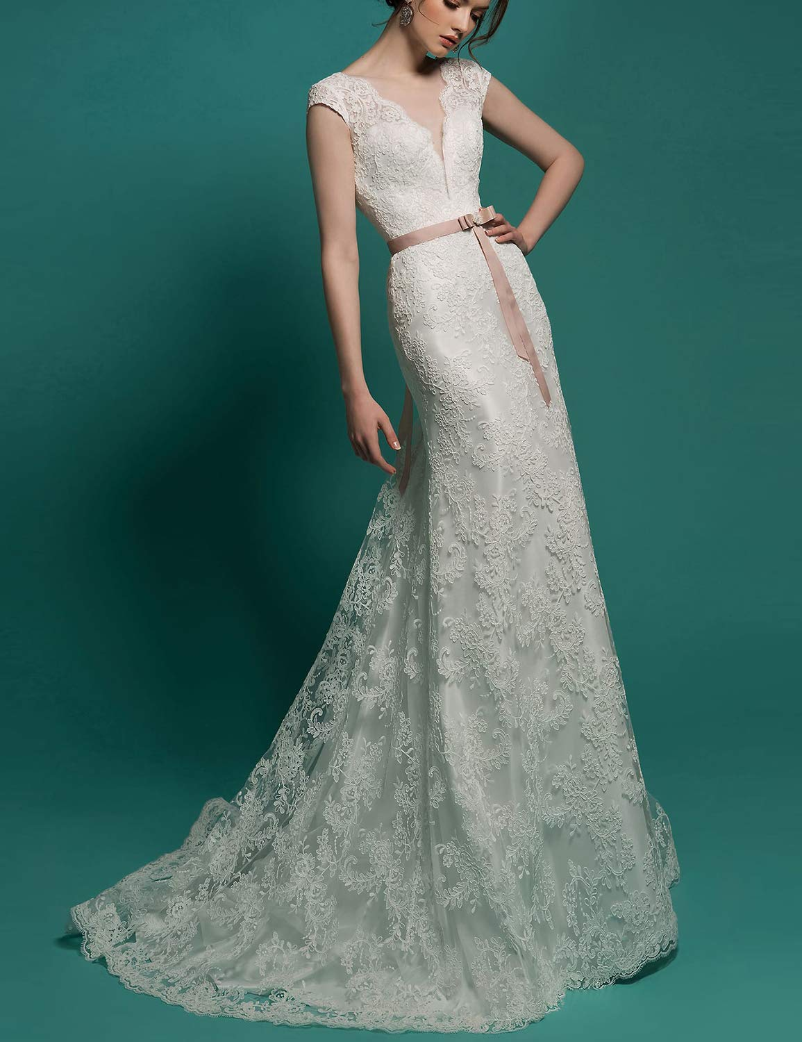 Long Plus Size Wedding Dresses for Women Lace Appliqued Evening Dress 2019  Empire Waist Formal Ball Gown Bridal Gown with Cap Sleeves V Neck Party ...
