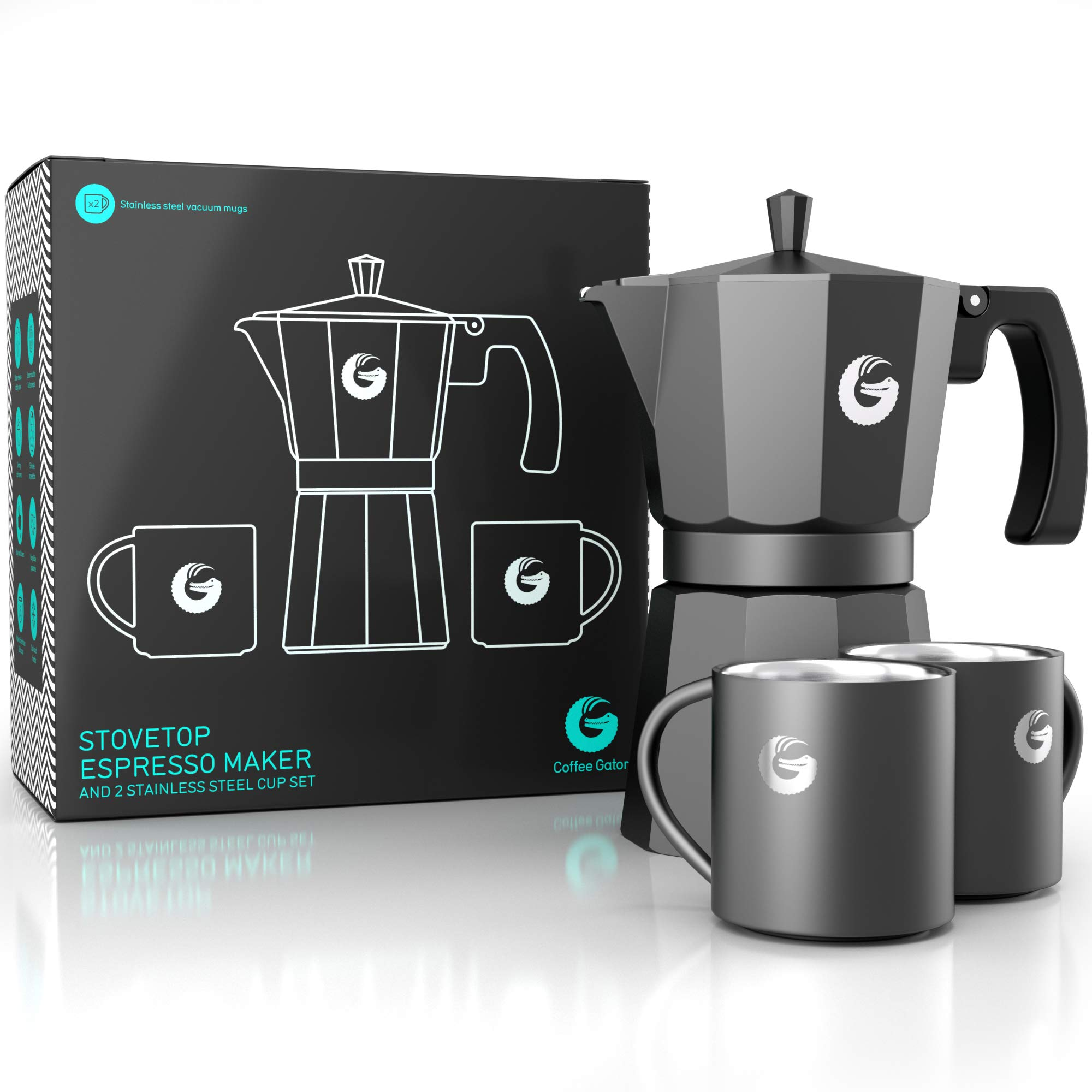 Coffee Gator Espresso Moka Pot - Stovetop Brewer Plus 2 Thermal Cups - 12 Ounce by Coffee Gator (Image #4)