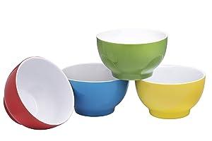Everyday Ceramic Bowls - Cereal, Soup, Ice Cream, Salad, Pasta, Fruit, 20 oz. Set of 4, By Bruntmor (Multicolor)