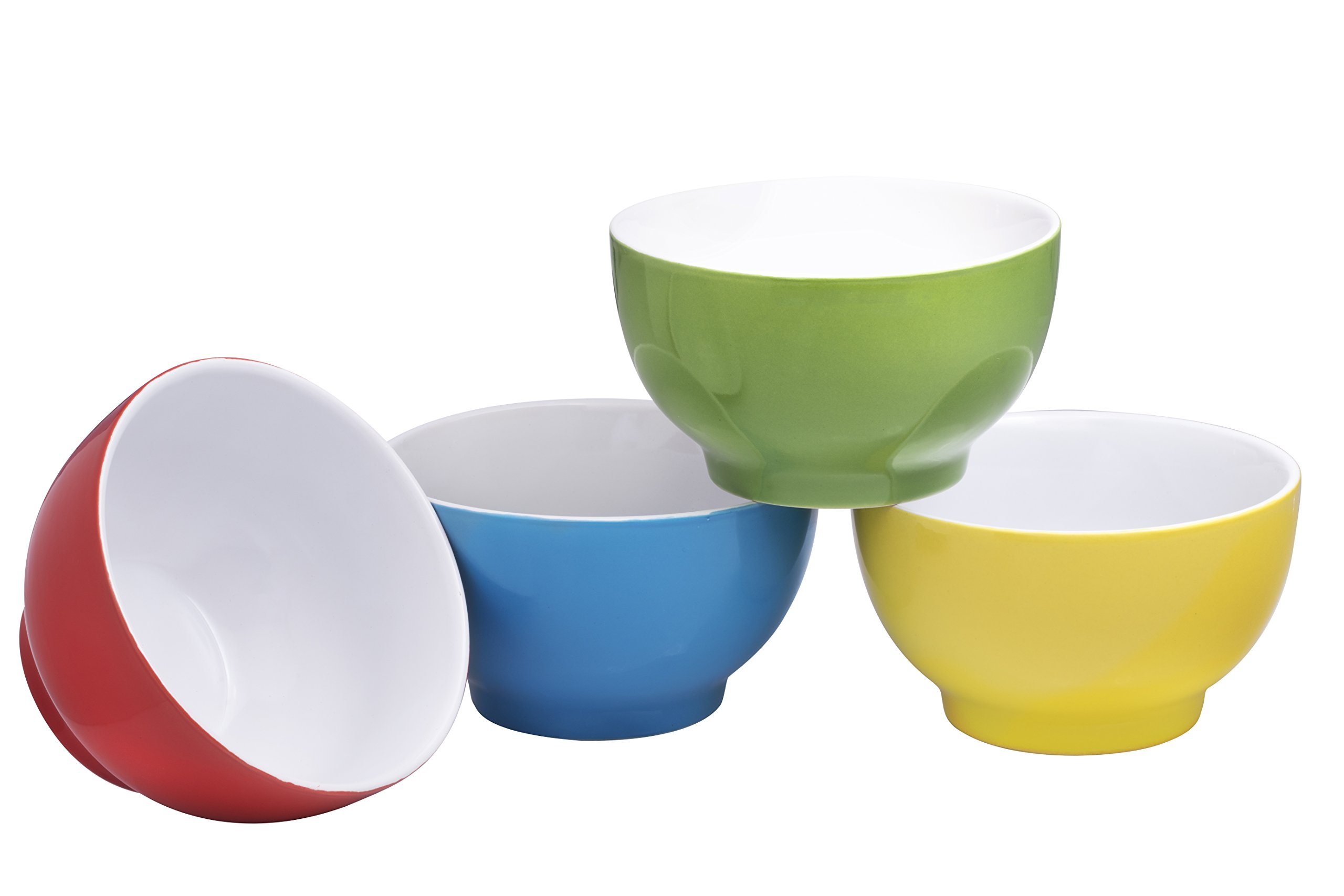 Everyday Ceramic Bowls - Cereal, Soup, Ice Cream, Salad, Pasta, Fruit, 20 oz. Set of 4, By Bruntmor (Multicolor)