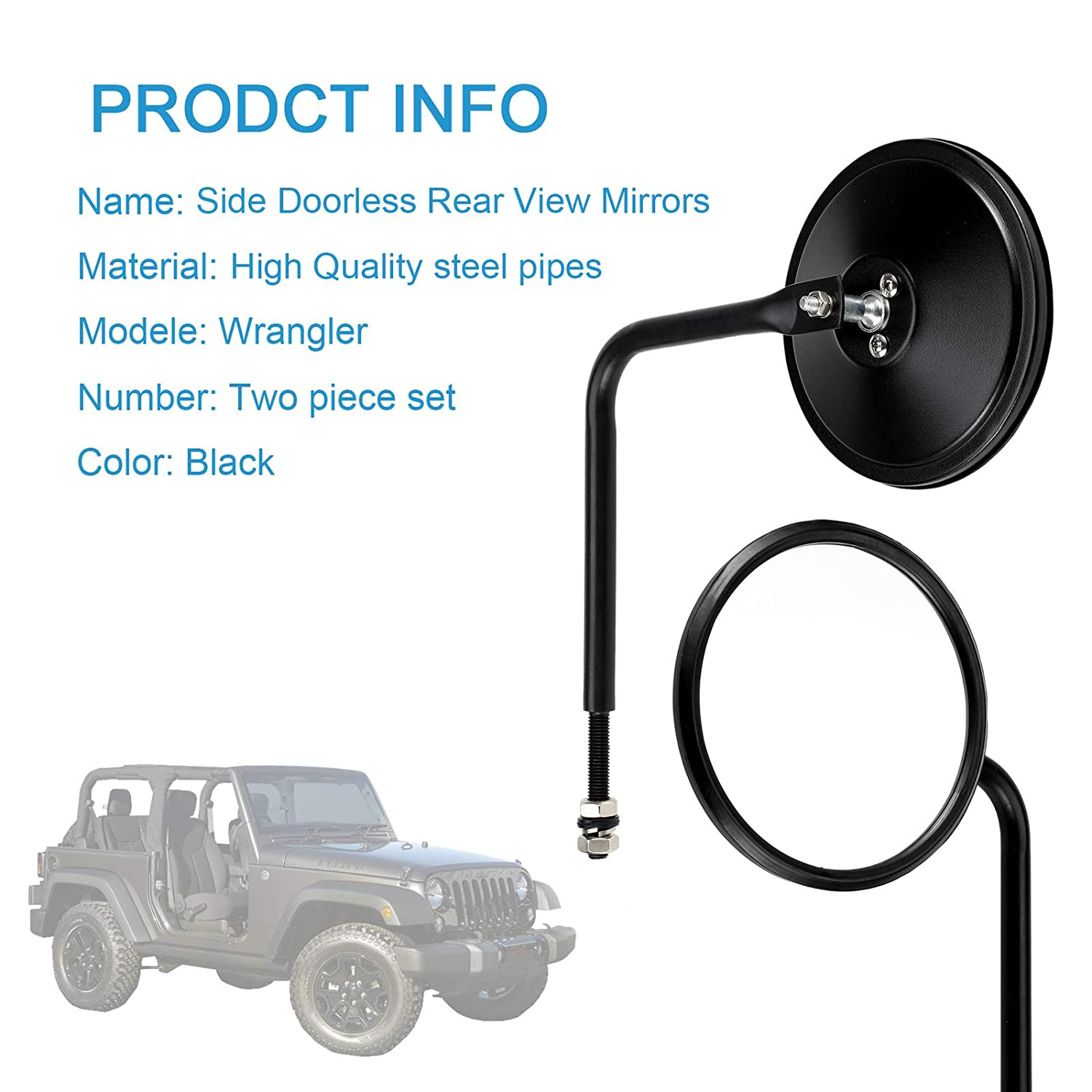Right//Left Side View Quick Release Mirror 2 Pack Rear View Mirror Retroviseur Rond Vintage,Rearview Mirrors for J-eep Wrangler JK TJ CJ YJ JL JKU 1945-2018 Rubicon Unlimited Sport Sahara