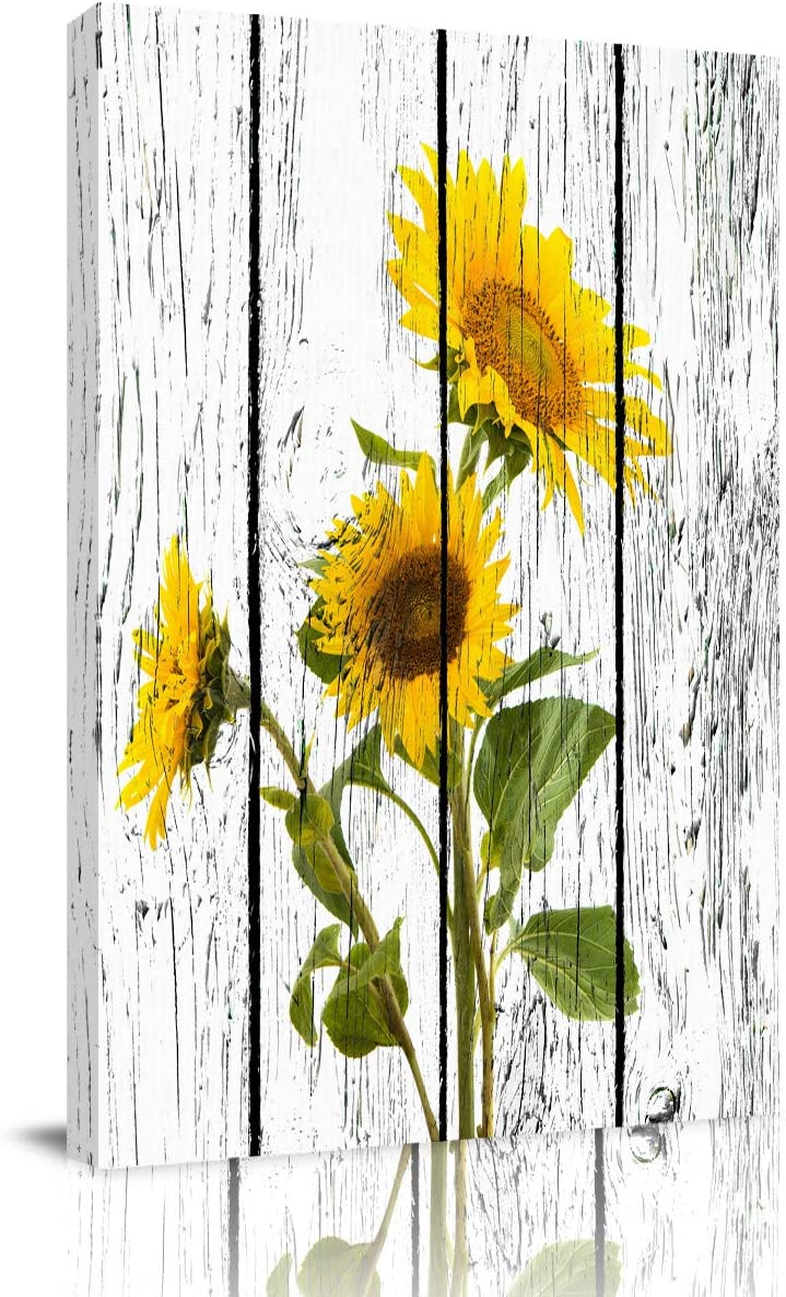 Painting on Canvas Wall Art-Yellow Sunflowers on Rustic Wooden Panels - Nature Photo Prints Modern Artwork for Bed Bathroom Dining Room Home Decor,Stretched and Framed Ready to Hang,12x16in