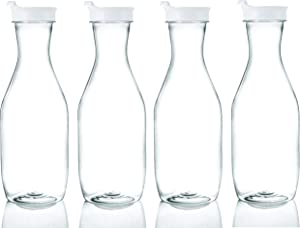 Plasticpro Clear Plastic Premium Water or Beverage Pitchers Heavy Duty Beverage Containers with Lids for Restuarants, Party's, or Schools 50 ounce Pack of 4