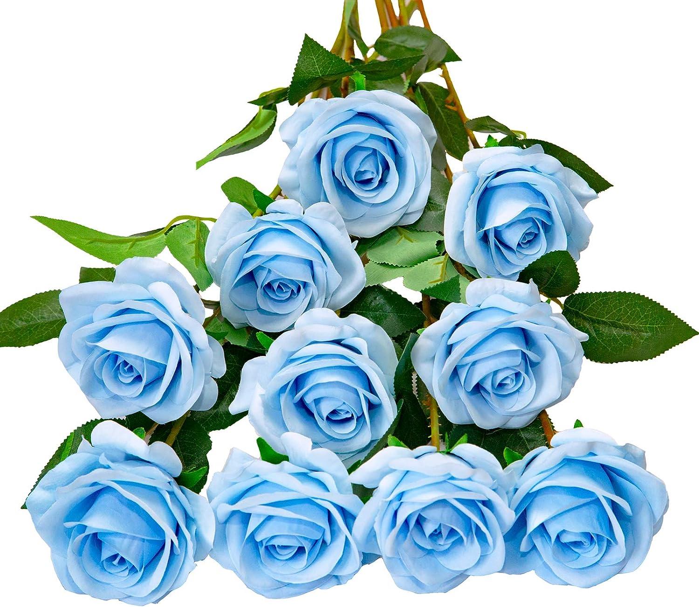 DuHouse 10pcs Fake Roses Artificial Silk Flowers Faux Rose Flower Long Stems Bouquet for Arrangement Wedding Centerpiece Party Home Kitchen Decor (Sky Blue)