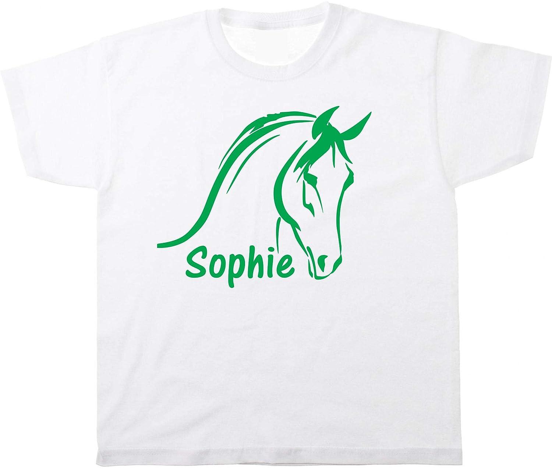 Kinder T-Shirt Pferd Pferdekopf mit Name Wunschname Farbe Wei/ß mit Flockdruck