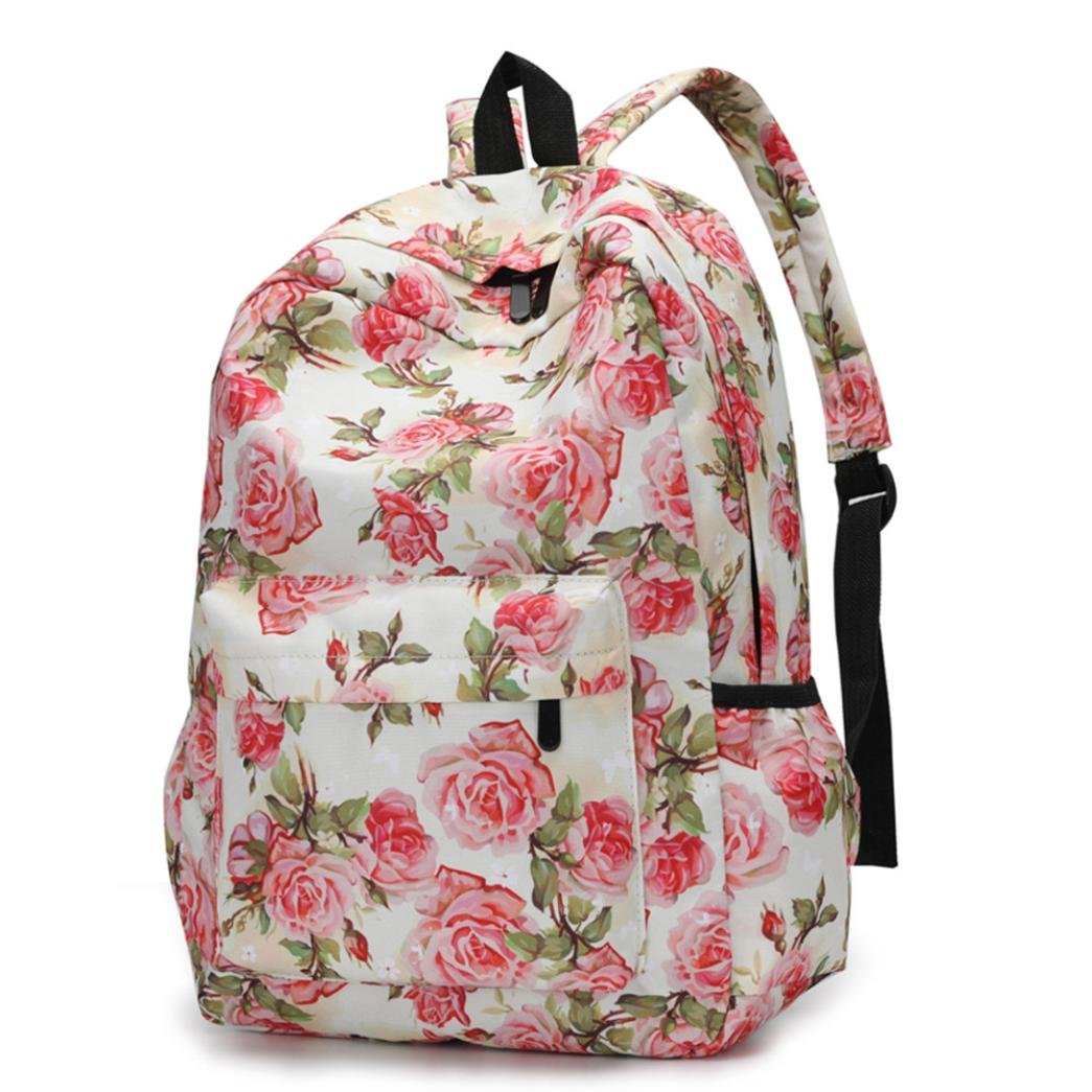 VIASA Fresh Style Women Fashion Backpacks Floral Print Bookbags Female Leisure Travel Backpack (C)