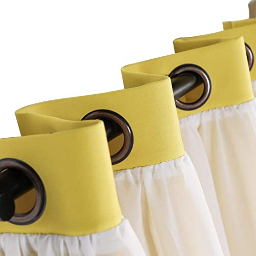 Macochico Extra Large Window Curtains with White Sheer Bronze Grommet Yellow Blackout Curtains for Bedroom Living Room Dining Room, 120 W by 96 L 1 Panel