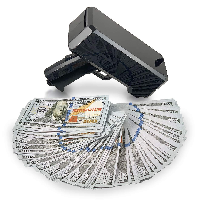 Party With Pride Money Gun, High Gloss Shiny Black, Rainmaker Handheld Cash Gun, Fake Bill Dispenser, Money Shooter (Black No Logo) by Party With Pride