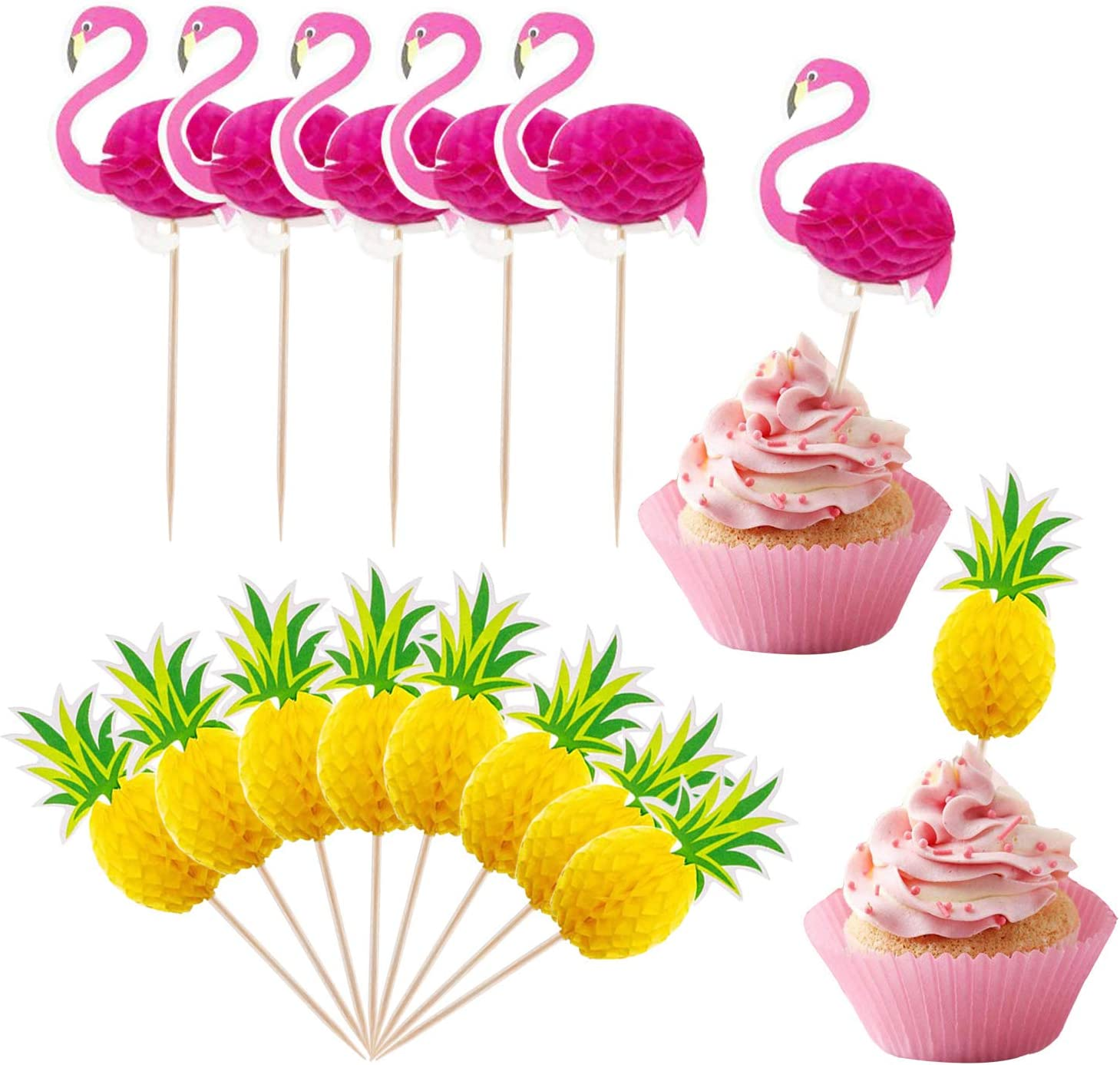 Amazon Com Lauren 48 Pcs Cupcake Toppers 3d Flamingo And Pineapple Cupcakes Toppers Food Picks Party Cocktail For Party Tropical Cupcake Picks Decoration Toys Games