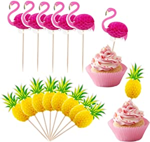 Lauren 48 Pcs Cupcake Toppers 3D Flamingo and Pineapple Cupcakes Toppers Food Picks Party Cocktail for Party Tropical Cupcake Picks Decoration