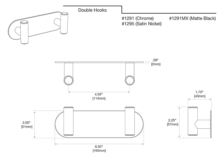 Gatco 1291 Latitude II Double Hook Chrome