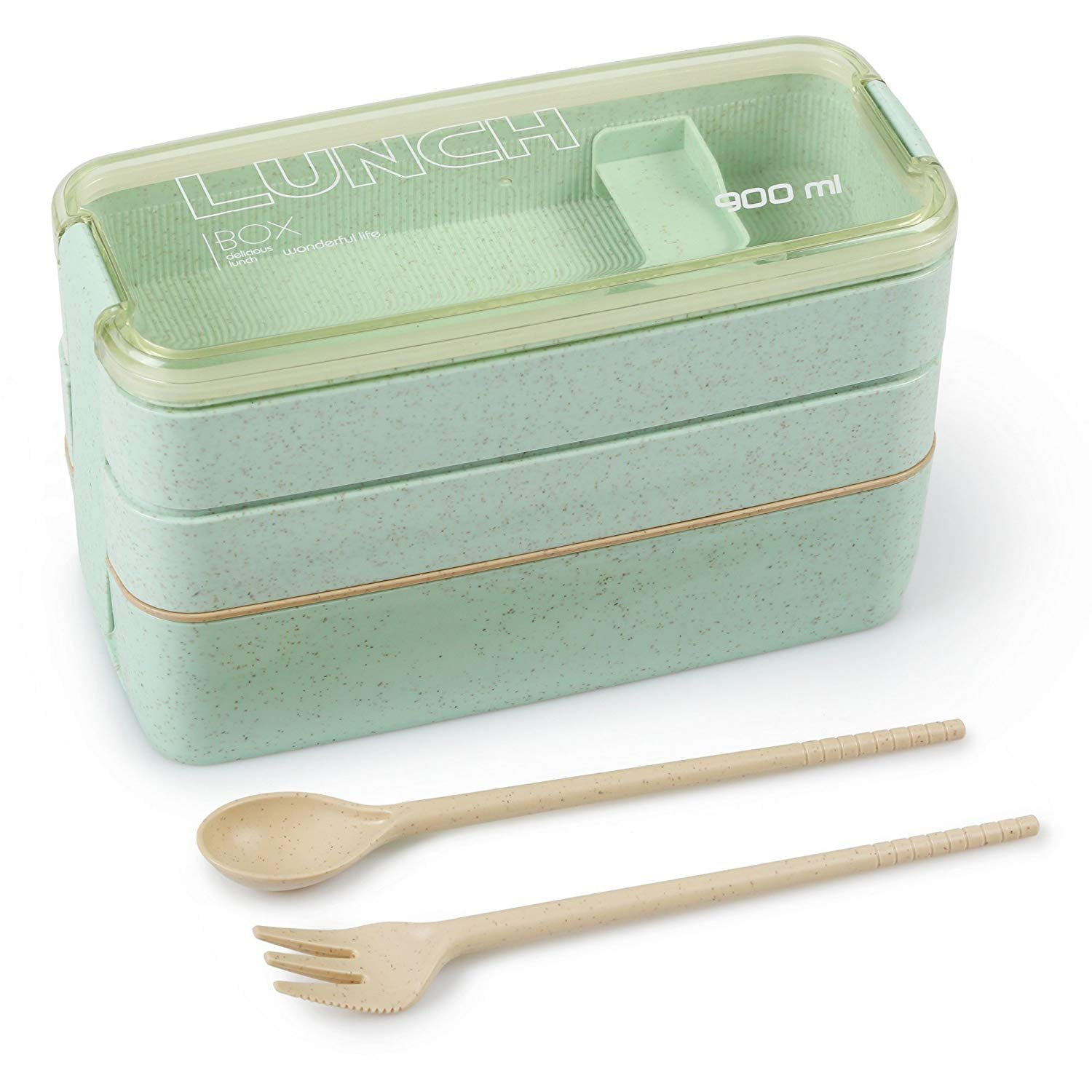 Eco-friendly Bento Lunch Box - Meal Prep Containers for Kids & Adults 3-in-1 Compartment - Wheat Straw, Leakproof (1)