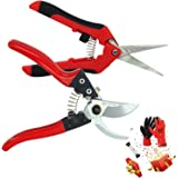 YARTTING Pruner Shears Set, Professional Garden Scissors Cutter Clippers Set, 3 Pack Stainless Steel Blades Handheld Pruners