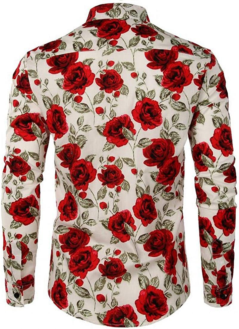 Wilngo Men Fashion Contrast Floral Print Luxury Long Sleeve Casual Button Up Shirts