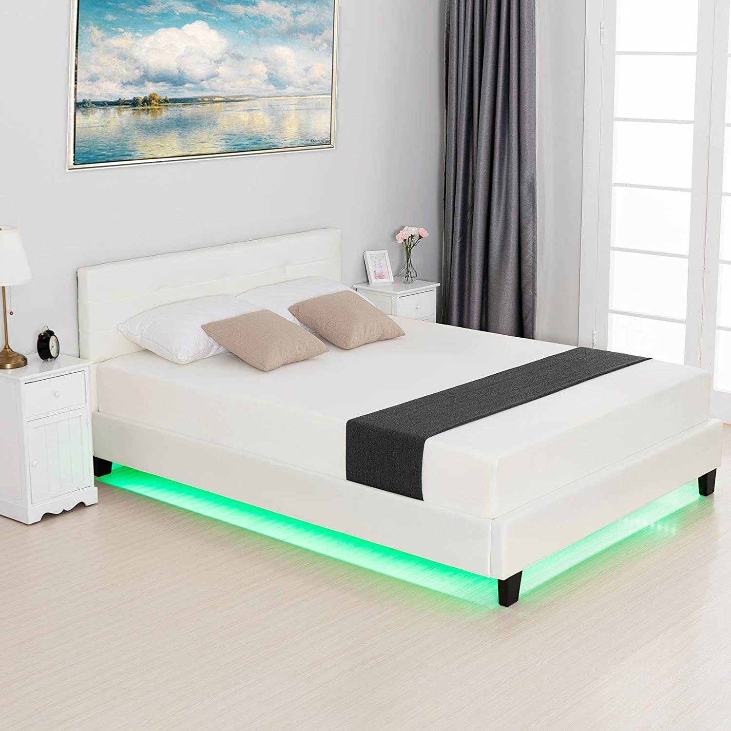 LAGRIMA Modern Upholstered Faux Leather Platform Bed with LED Light with 2.8-Inch Solid Wooden Slat Support, White, Queen Size