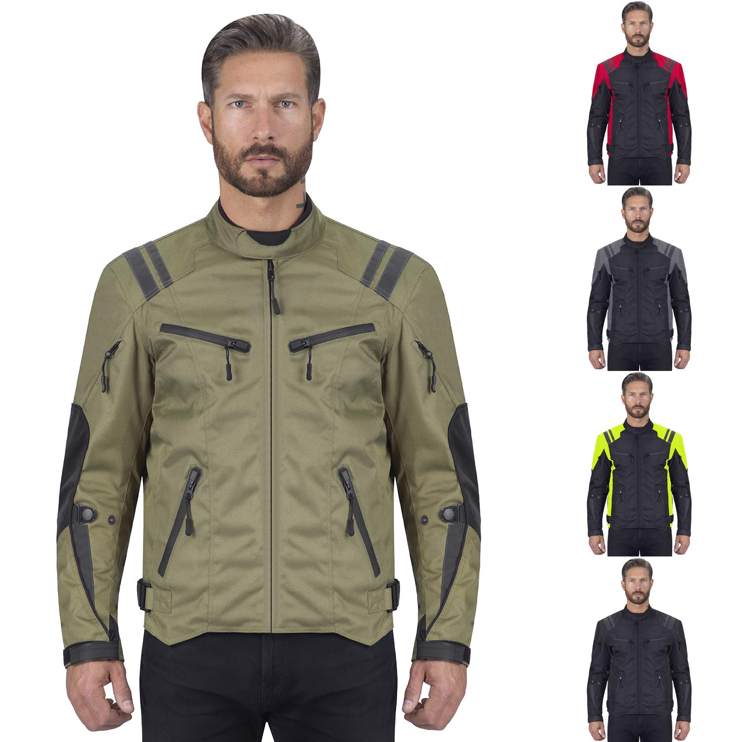 Viking Cycle Ironborn Motorcycle Textile Jacket For Men (Military Green, XXX-Large) by Viking Cycle