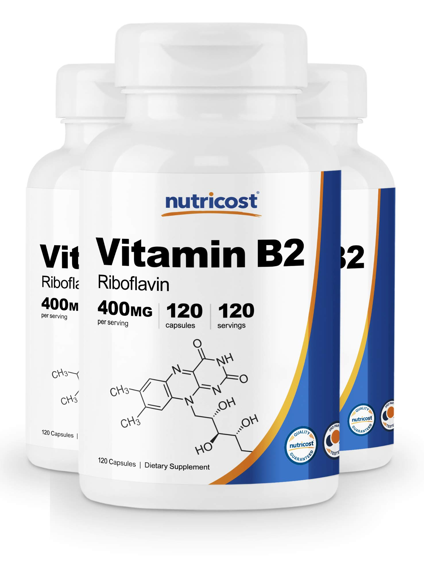 Nutricost Vitamin B2 (Riboflavin) 400mg, 120 Capsules (3 Bottles) by Nutricost