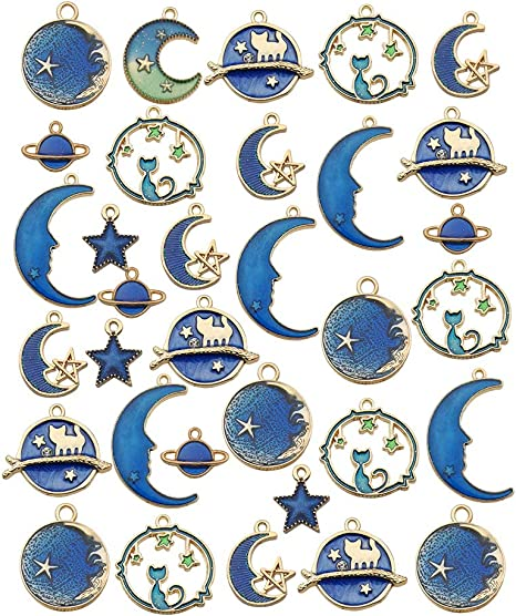 Mixed Antique Silver Sun Stars Moon Charms Pendants Assorted Gold Plated Enamel Cat Moon Star Celestial Charm Pendant for Earrings Necklace Bracelet Jewelry Making Crafting 108 Pieces Jewelry Charms