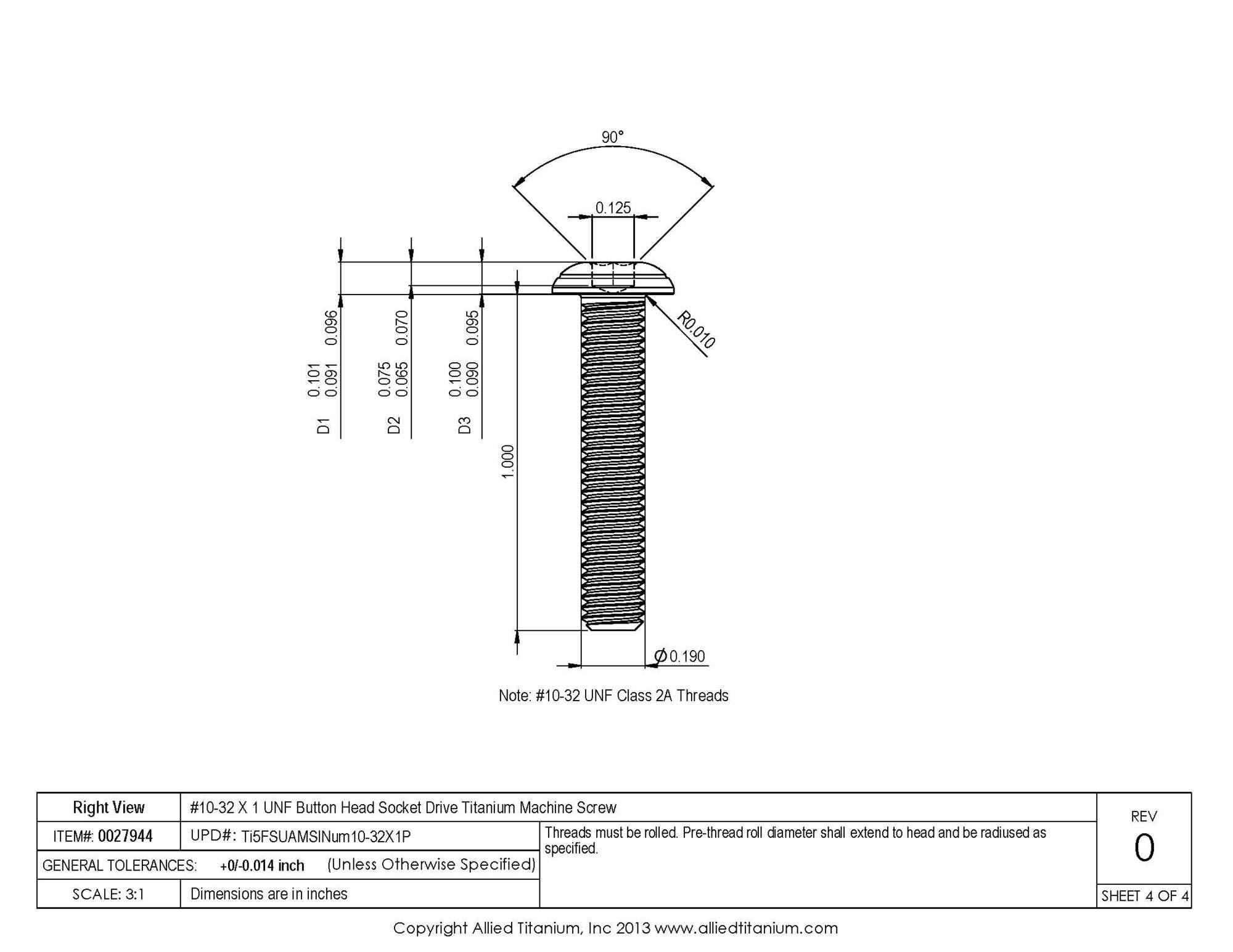 Allied Titanium 0027944, (Pack of 10) #10-32 X 1 UNF Button Head Socket Drive Machine Screw, Grade 5 (Ti-6Al-4V) by Allied Titanium (Image #4)