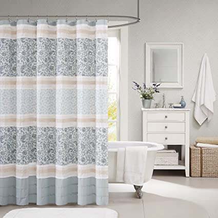 Madison Park Dawn Modern Cotton Fabric Shower Curtain, Cottage/Country  Print Design Shower Curtains