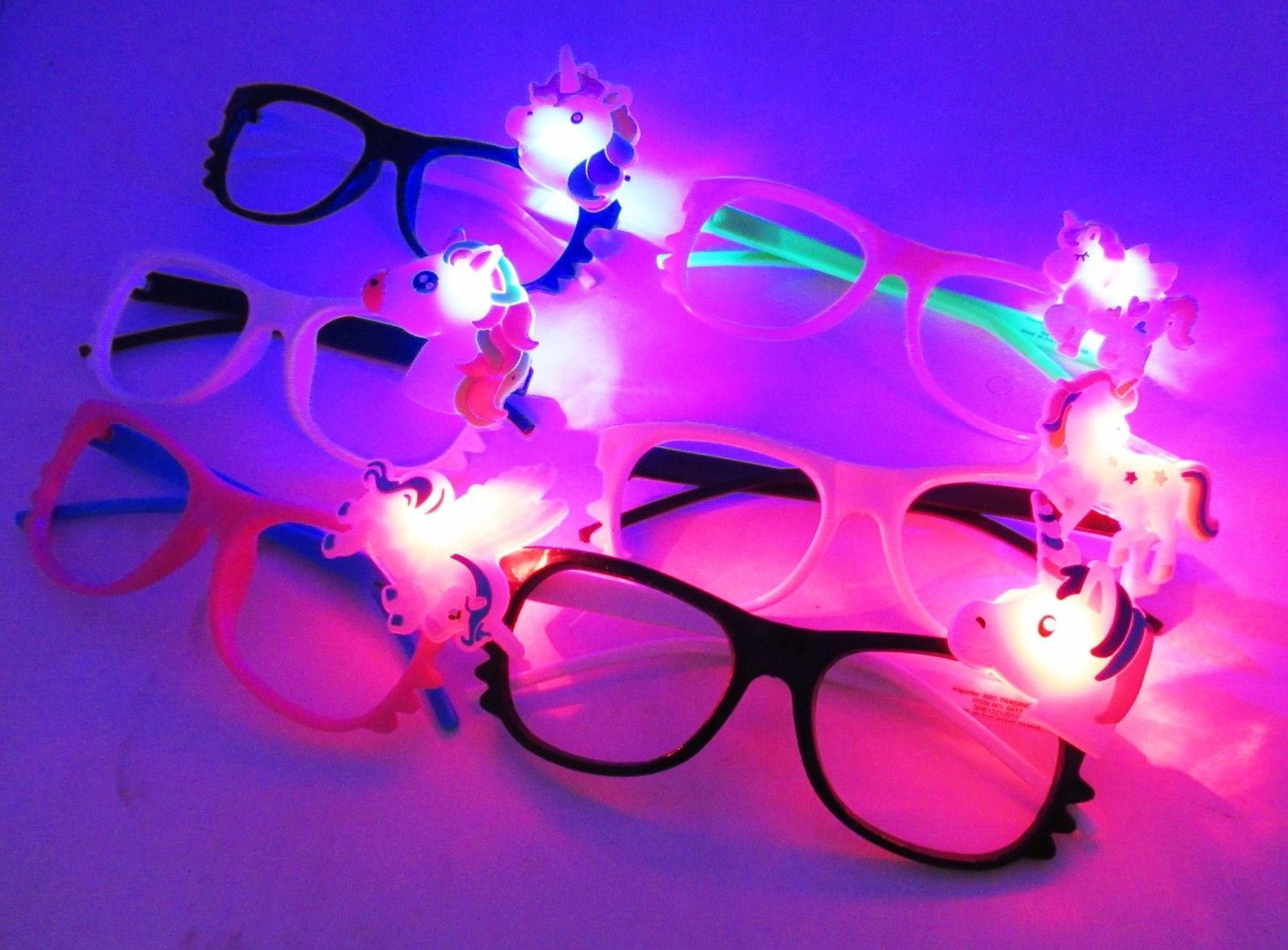 Toycamp 12/pk Flashing Lensless Assorted Unicorn Glasses LED SunGlasses Rave Party Wear by Toycamp (Image #4)