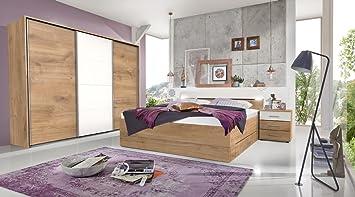 lifestyle4living Dormitorio Juego Completo en Madera de Roble y Blanco, 4 Piezas, Moderno Juego Completo de Cama, Armario de Puertas correderas y Noche KOM Moden: Amazon.es: Juguetes y juegos