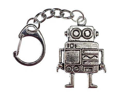 miniblings Robot de Plata Anillo de Llavero llaveros ...