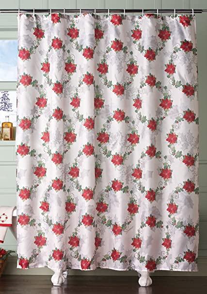 Poinsettia Holiday Bathroom Shower Curtain