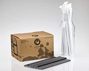 """Footprint Paper Straws - Giant 10"""" (4000ct) Black Wrapped - Biodegradable, Premium Eco-Friendly Paper Straws in Bulk for Restaurants, Juices, Smoothies (FPS-08-254-W-999)"""