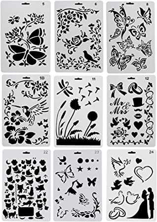 Ccmart Kunststoff Zeichnen Malen Schablone Vorlagen Set Von 9 Mit Schmetterling Blumen Vogel Zahlen Form Herz Form Perfekte Fur Notebook Diary Scrapbook Journaling Karte Diy Craft Project Amazon De Kuche Haushalt
