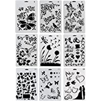URlighting Drawing Painting Stencils Template(9 Pcs) - Various Styles Patterns with Butterfly, Flowers, Birds, Figures…