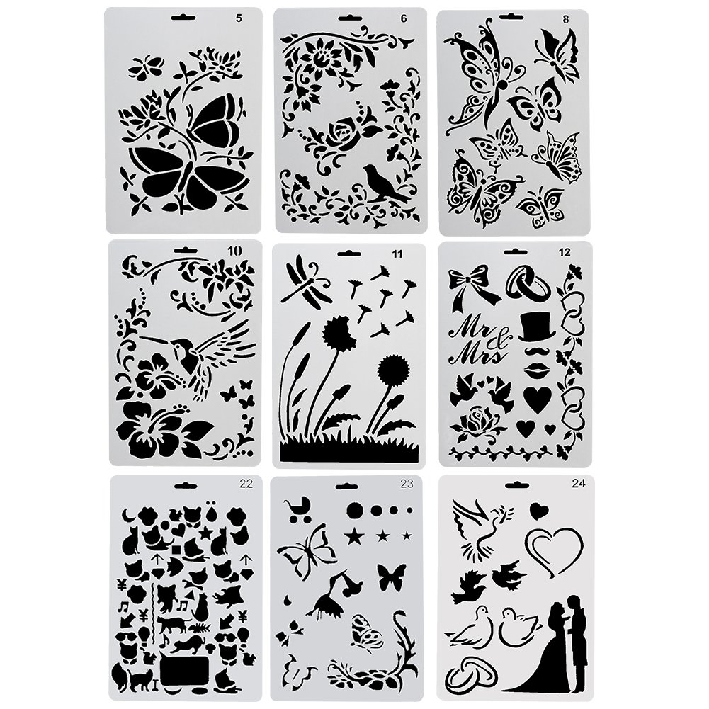 Birds Figures Heart Shape Pecfect for Notebook//Diary//Scrapbook//Journaling//Card DIY Craft Project COCODE Plastic Drawing Painting Stencil Templates Set of 9 with Butterfly Animal Shape Flowers