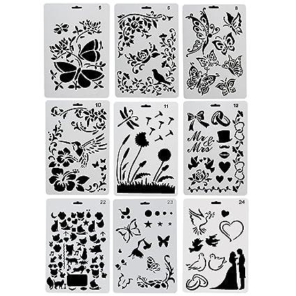Ccmart Plantillas De Plastico Para Dibujo 9 Unidades Con Mariposas - Dibujos-para-manualidades