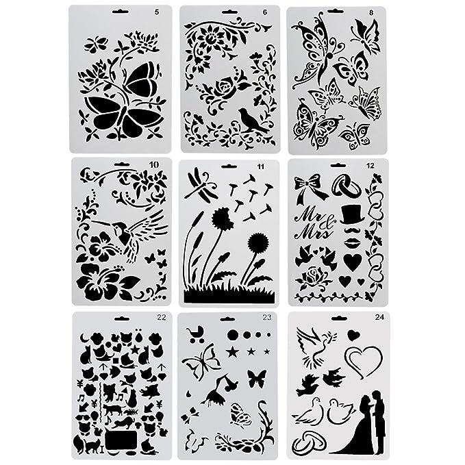 CCMART Plantillas de plástico para Dibujo, 9 Unidades, con Mariposas ...