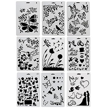 CCMART Plantillas de plástico para Dibujo, 9 Unidades, con Mariposas, Flores, pájaros