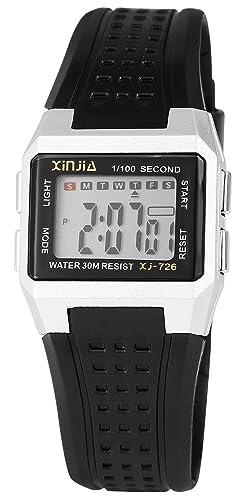 XINJIA - Reloj Digital de Pulsera para Mujer, Color Plateado y Negro, con Caja